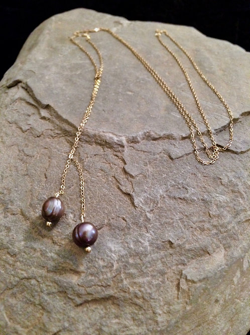 Old World Gold Tahitian Pearl Drop Necklace
