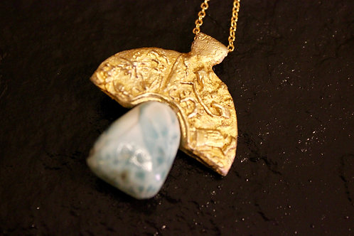Old World Sumerian Gold Tablet Pendant Necklace With Larimar Stone