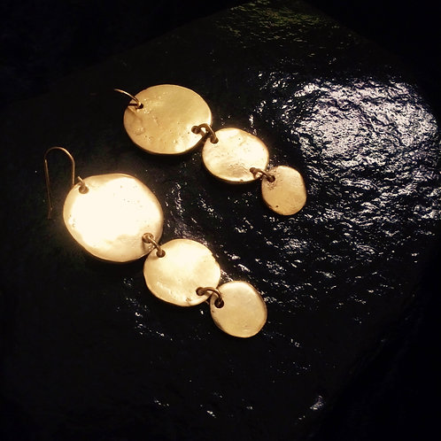 Old World Egyptian Gold Discus Earrings