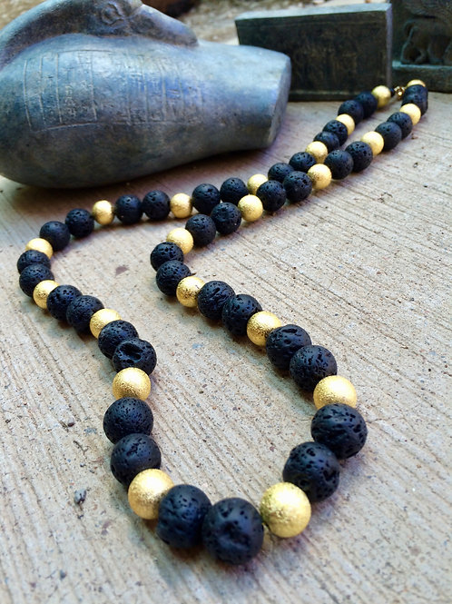 ::Old World Gold & Lava Stone Beaded Necklace::
