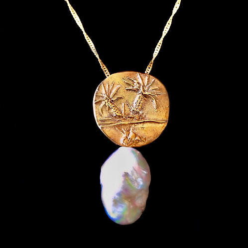 Old World 18k Yellow Gold Disc Pendant set with a Baroque South Sea Pearl:POA
