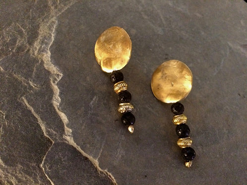 Old World Gold & Lava Stone Drop Earrings