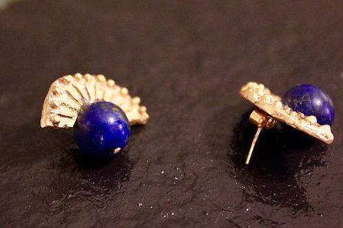 Old World Gold Fan Lapis Lazuli Earrings Ancient Sumerian Style