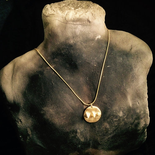 Ancient Giza Pyramids Gold Pendant Necklace
