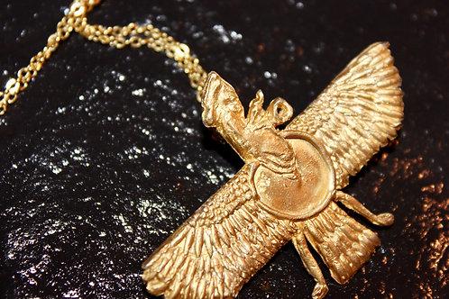 Old World Gold Zoroastrian Pendant Necklace