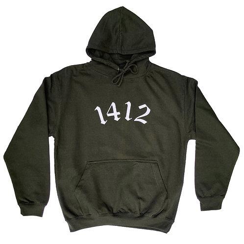 1412 Hoodie Logo Combat green