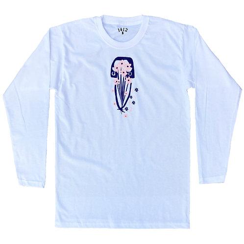 1412 Long sleeves Dechva Flowers - White