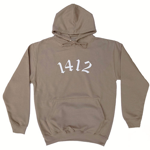1412 Hoodie Logo Mocha Brown