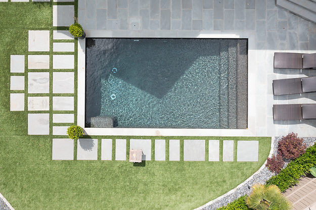 Landscaped turf and pool