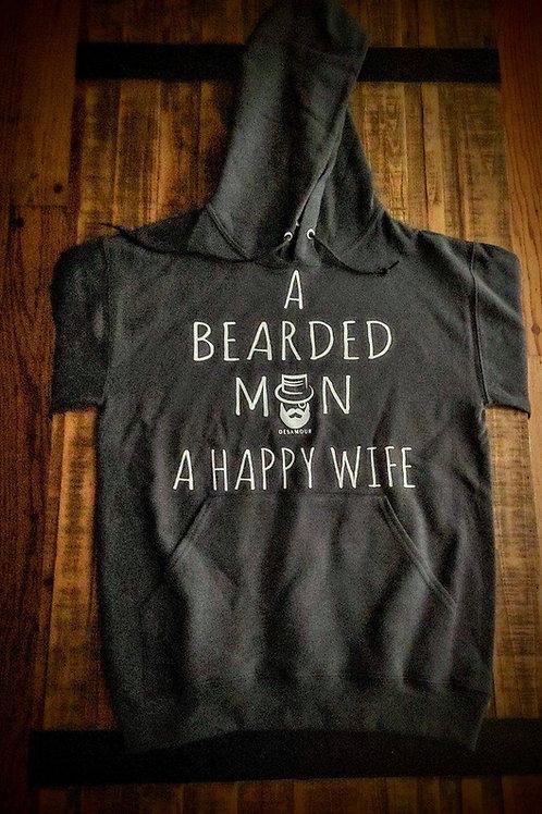 """A Bearded Man A Happy Wife"" hoodie"