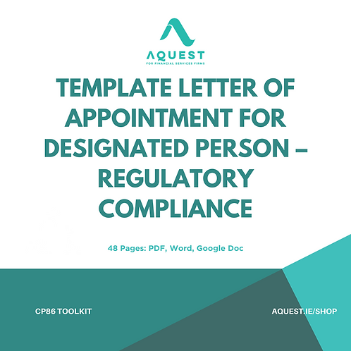 Template Letter of Appointment for Designated Person - Regulatory Compliance