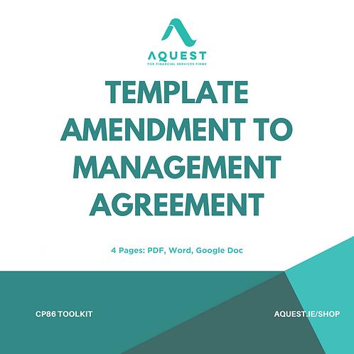 Template Amendment to Management Agreement