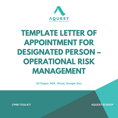 Template Letter of Appointment for Designated Person - Operational Risk