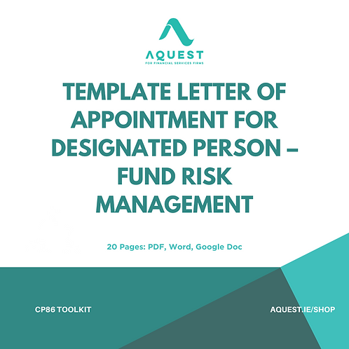 Template Letter of Appointment for Designated Person - Fund Risk Management