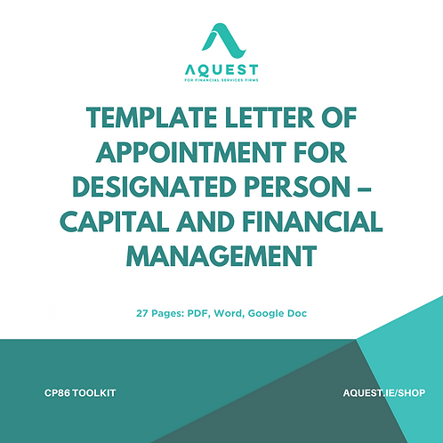 Template Letter of Appointment for Designated Person - Capital & Financial