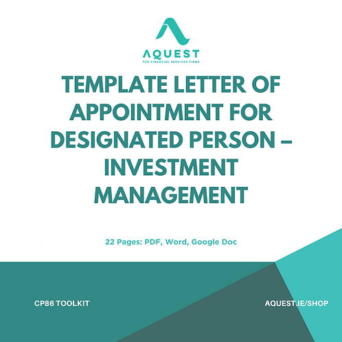 Template Letter of Appointment for Designated Person - Investment Management