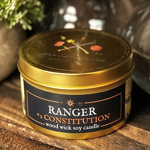 RANGER +2 Constitution Candle | Wood Wick, Soy | RPG DnD Class Gift
