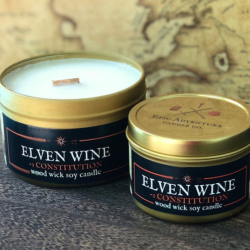 ELVEN WINE -1 Constitution Candle | Wood Wick, Soy | DnD Gift | RPG Accessory