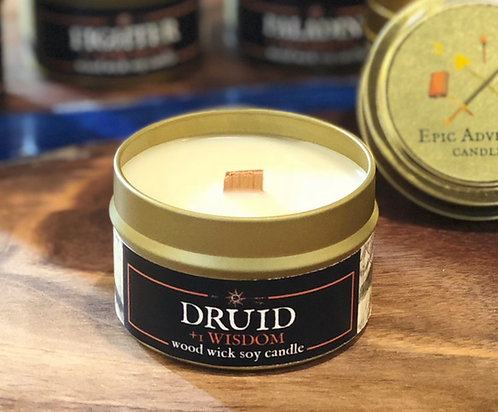 Druid + 1 WIS RPG Candle | Wood Wick, Soy | Geek DnD Gift