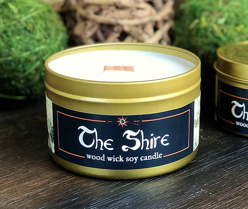 The Shire Candle | Wood Wick, Soy | Fantasy Landscape RPG Scene | Book Gift