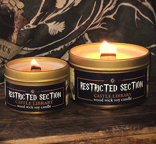 Castle Library: RESTRICTED SECTION Candle | Wood Wick, Soy | Book Gift | RPG