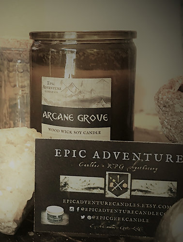 ARCANE GROVE Candle   Wood Wick, Soy   Bookish Fantasy RPG Horror Forest