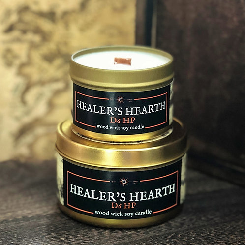 Healer's Hearth Candle | Wood Wick, Soy | RPG Setting Accessory Scent | DnD Gift
