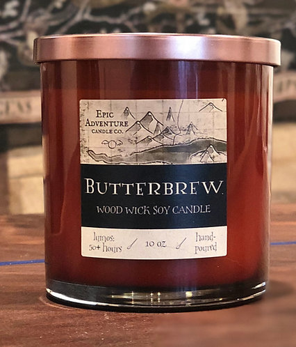 Butterbrew Candle | Wood Wick, Soy | Fantasy Book Fan Gift