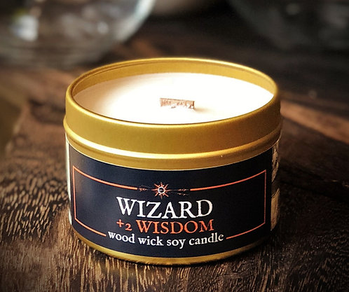 WIZARD +2 Wisdom Candle | Wood Wick, Soy | Fantasy RPG Scene | Book, DnD Gift