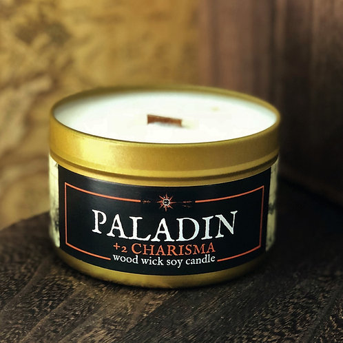 Paladin +2 Charisma Candle   Wood Wick, Soy   RPG DnD Class Gift