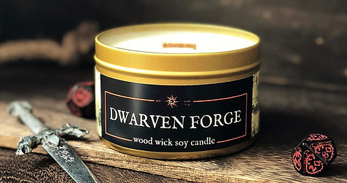 Dwarven Forge Candle   Wood Wick, Soy   RPG Accessory   Fantasy Gift