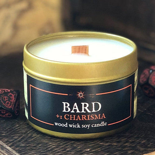 BARD +1 Charisma RPG Candle | Wood Wick, Soy | RPG, DnD Class Scent Gift