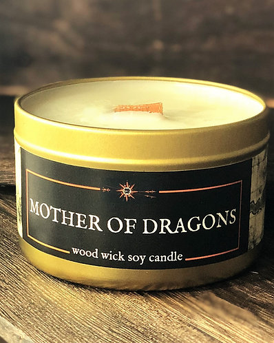 Mother of Dragons Candle | Wood Wick, Soy | Bookish Fantasy Geek Gift