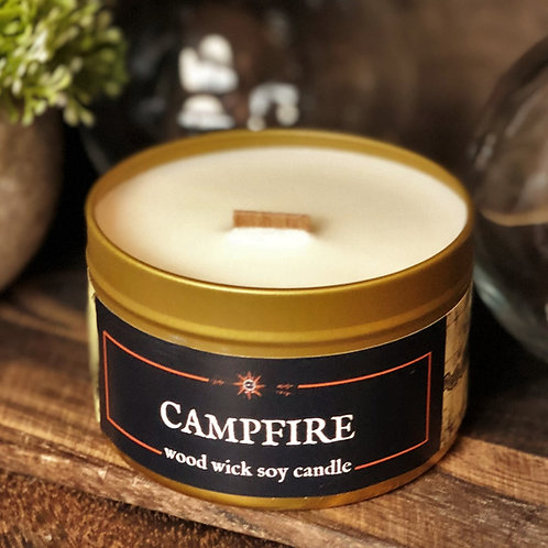 CAMPFIRE Candle | Wood Wick, Soy | Geek Bookish DnD or Outdoors Gift