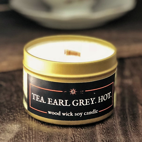 Tea. Earl Grey. Hot. Candle | Wood Wick, Soy | Sci-Fi Gift, Décor