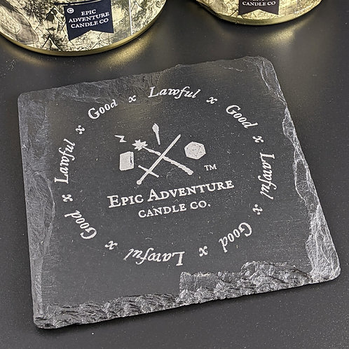 DnD, RPG Candle Coaster, Drink Trivet | Natural Slate | Character Alignments | D