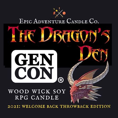 GENCON Dragon's Den Candle | Wood Wick, Soy | RPG Accessory | DnD Gift