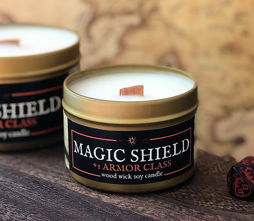 Magic Shield +1AC Candle | Wood Wick, Soy | RPG DnD