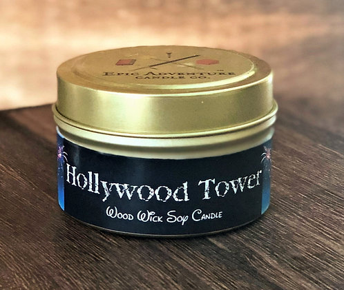 Hollywood Tower Candle | Wood Wick, Soy | Theme Park Fan Gift | Spooky Scent
