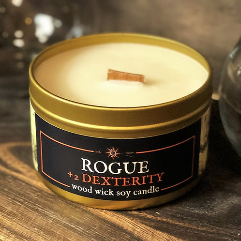 ROGUE +2 Dexterity RPG Candle | Wood Wick, Soy | Geek DnD Gift