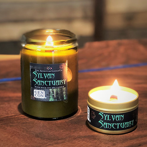 Sylvan Sanctuary GEN CON (tm) 2020 Licensed RPG Candle | Wood Wick, Soy | DnD