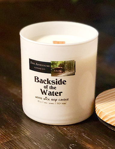 Backside of the Water Candle | Wood Wick, Soy | Theme Park Fan Gift | Jungle