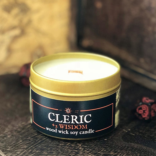 CLERIC +2 Wisdom Candle   Wood Wick, Soy  RPG Fantasy DnD Gift   Sandalwood