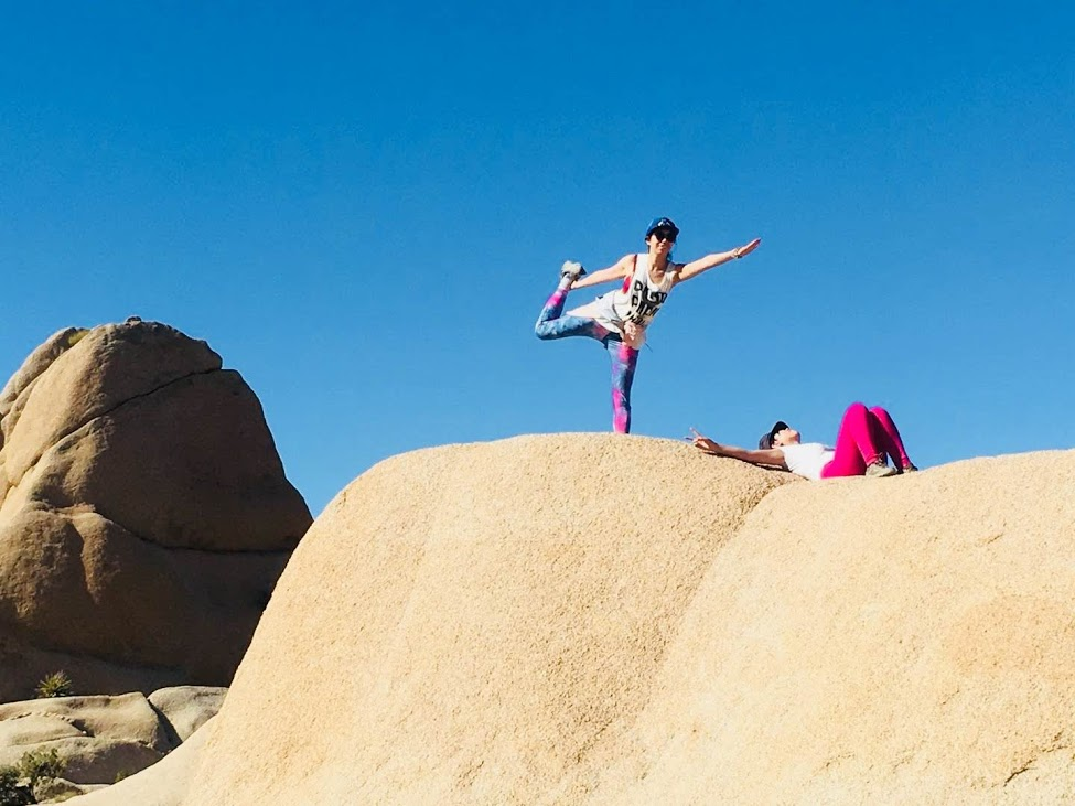 Yoga on a rock