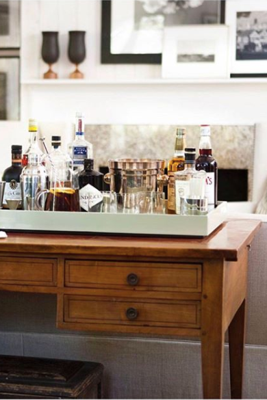 tray + home bar + console table