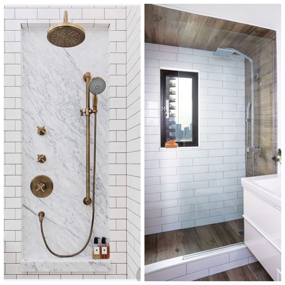 showers with accents tile to highlight shower fixtures