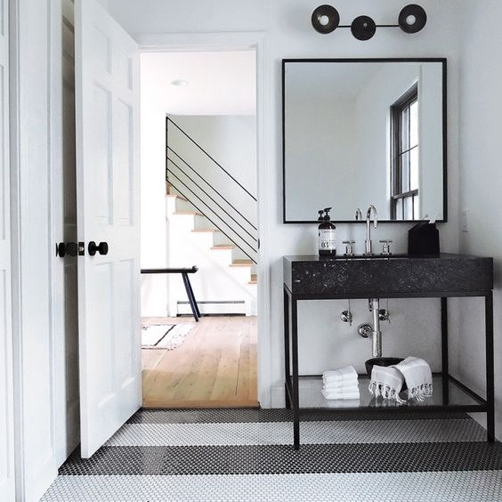 black and white striped floor using penny tile