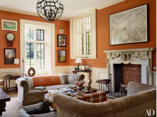 HOT FOR HUE: ORANGE LIVING ROOMS