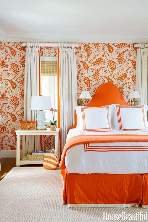 HOT FOR HUE: ORANGE DECOR IN THE BEDROOM
