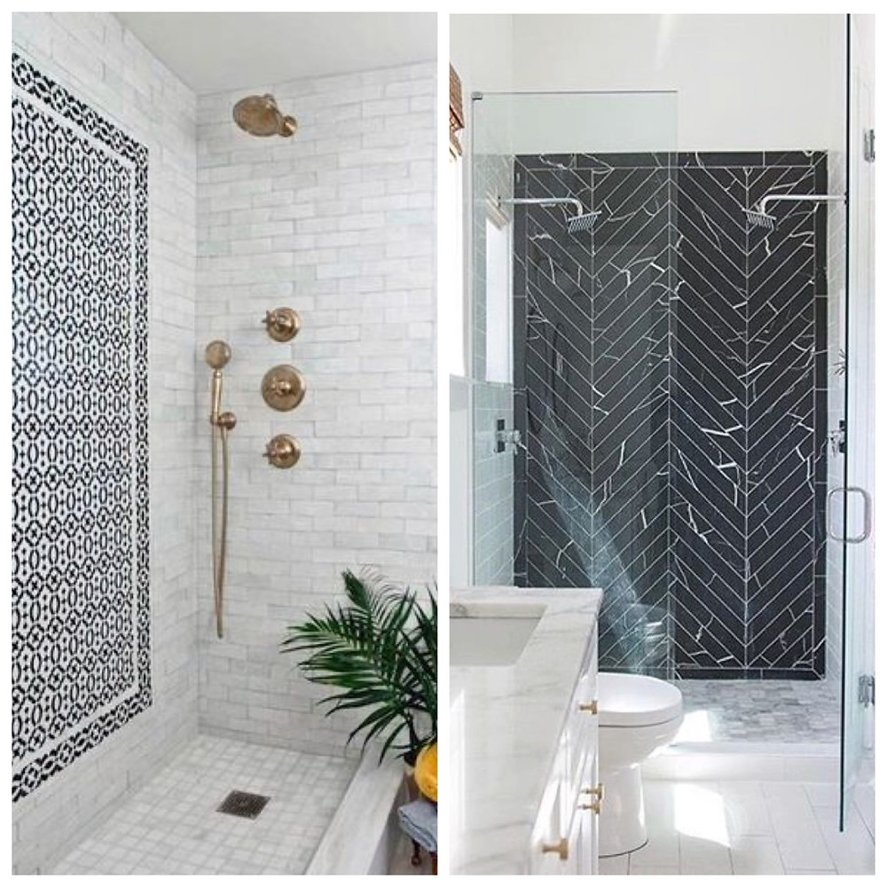bathrooms with accent tile walls